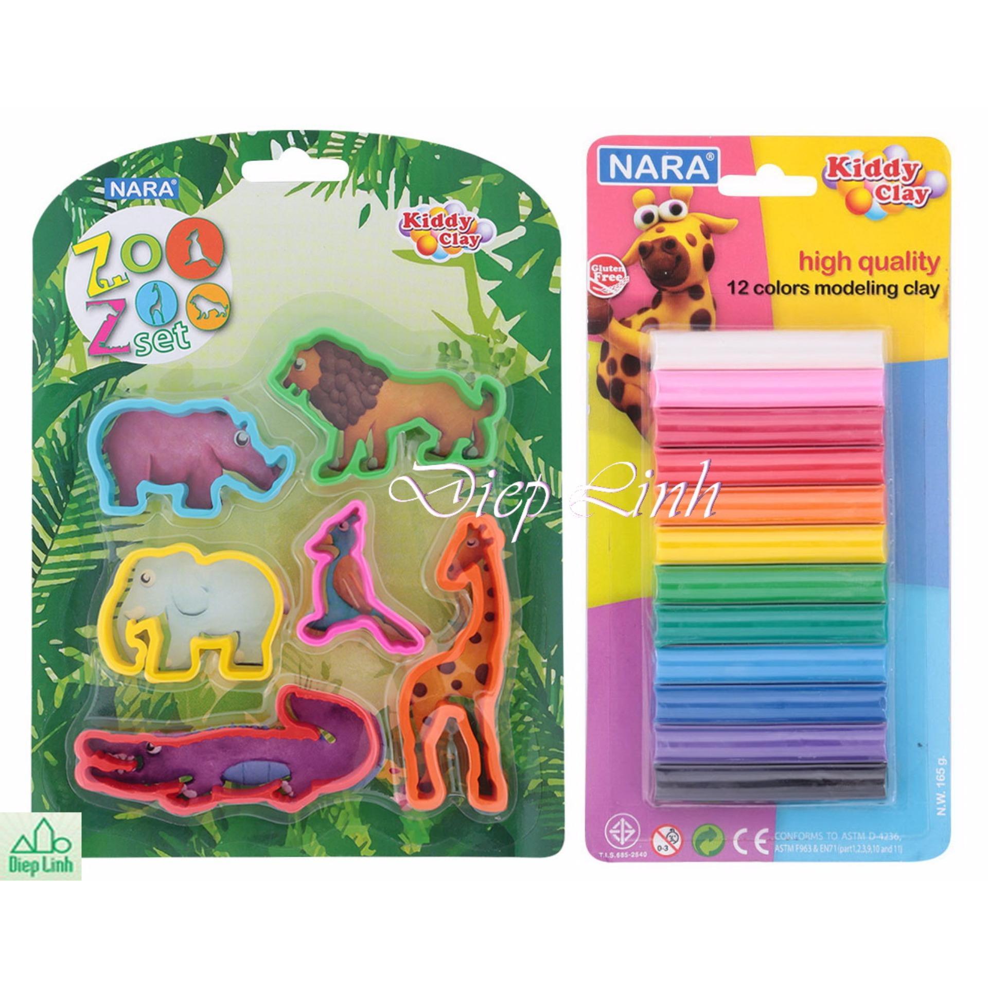Bộ đất sét nặn 12 màu kèm khuôn nặn vườn thú hàng Thái Lan – Diệp Linh DN16