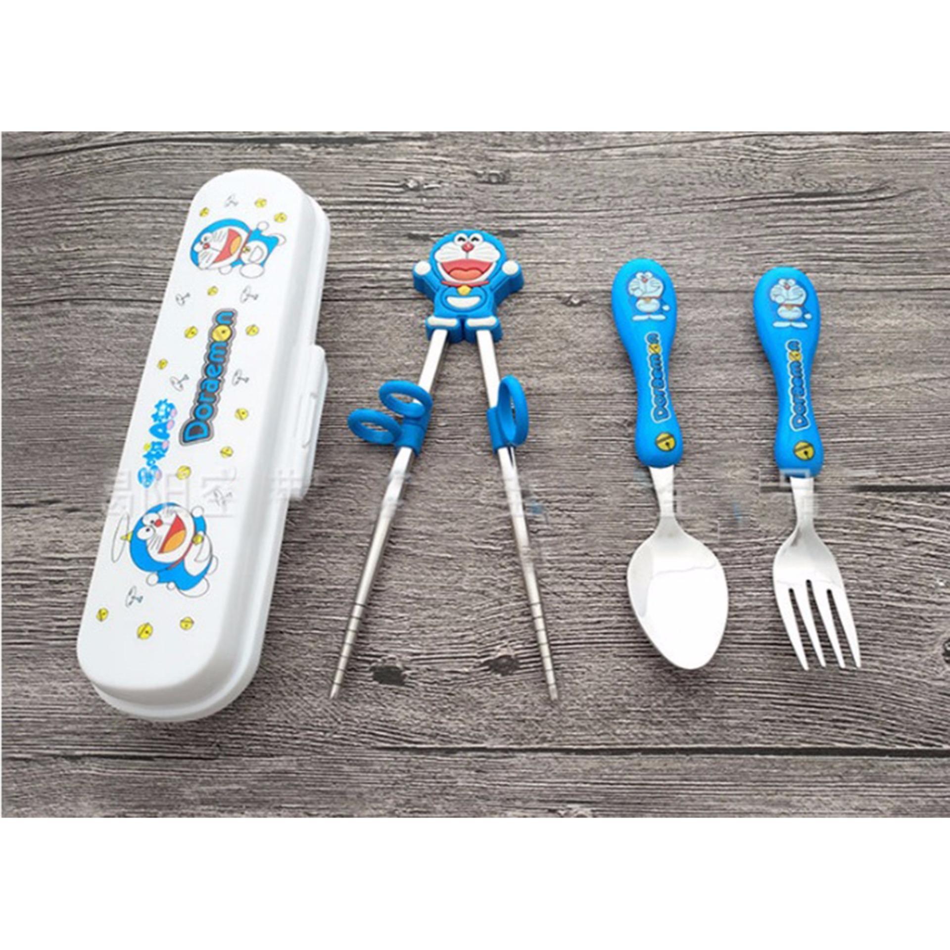 Bộ dĩa đũa muỗng tiện dụng cho bé yêu hình Doraemon