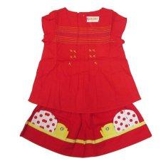 Bộ đồ bé gái Hoa Kim 7046 Size 4 (Đỏ)