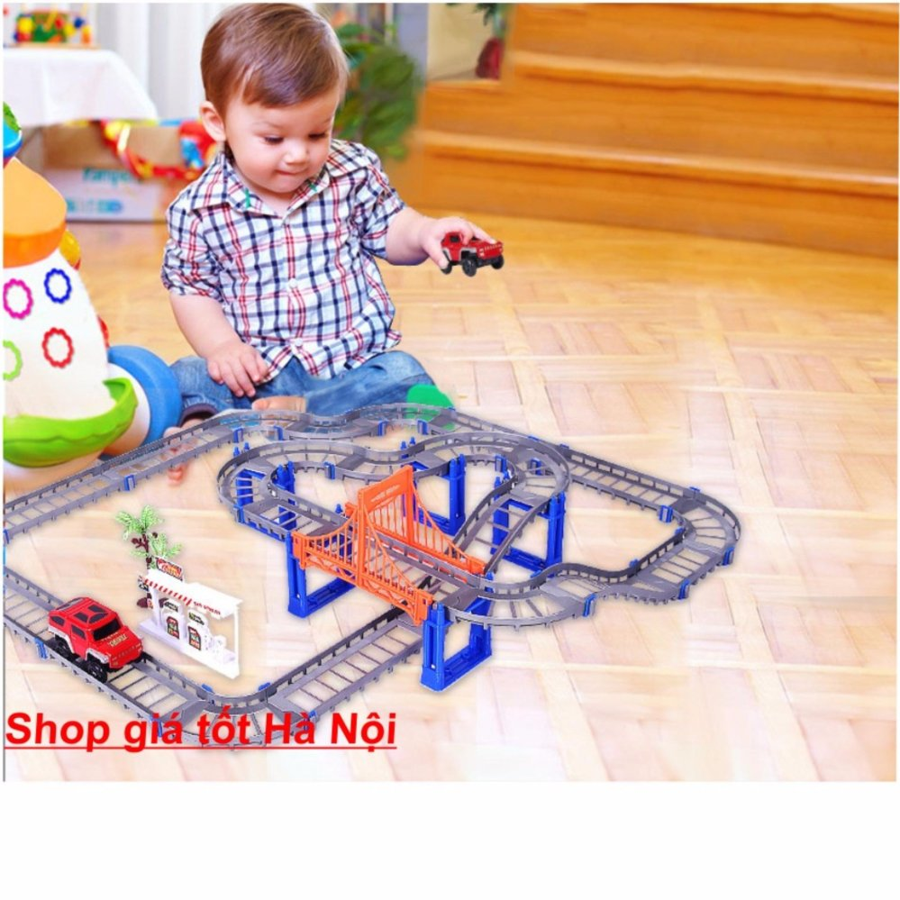 Bộ đồ chơi cao cấp lắp ráp đường ray cho ô tô ,xe lửa chạy phát triển trí thông minh cho bé.