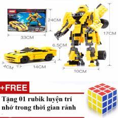Bộ đồ chơi ghép hình siêu nhân biến hình ô tô với 221 chi tiết + Tặng 01 bộ rubik loại 1 trơn, nhạy