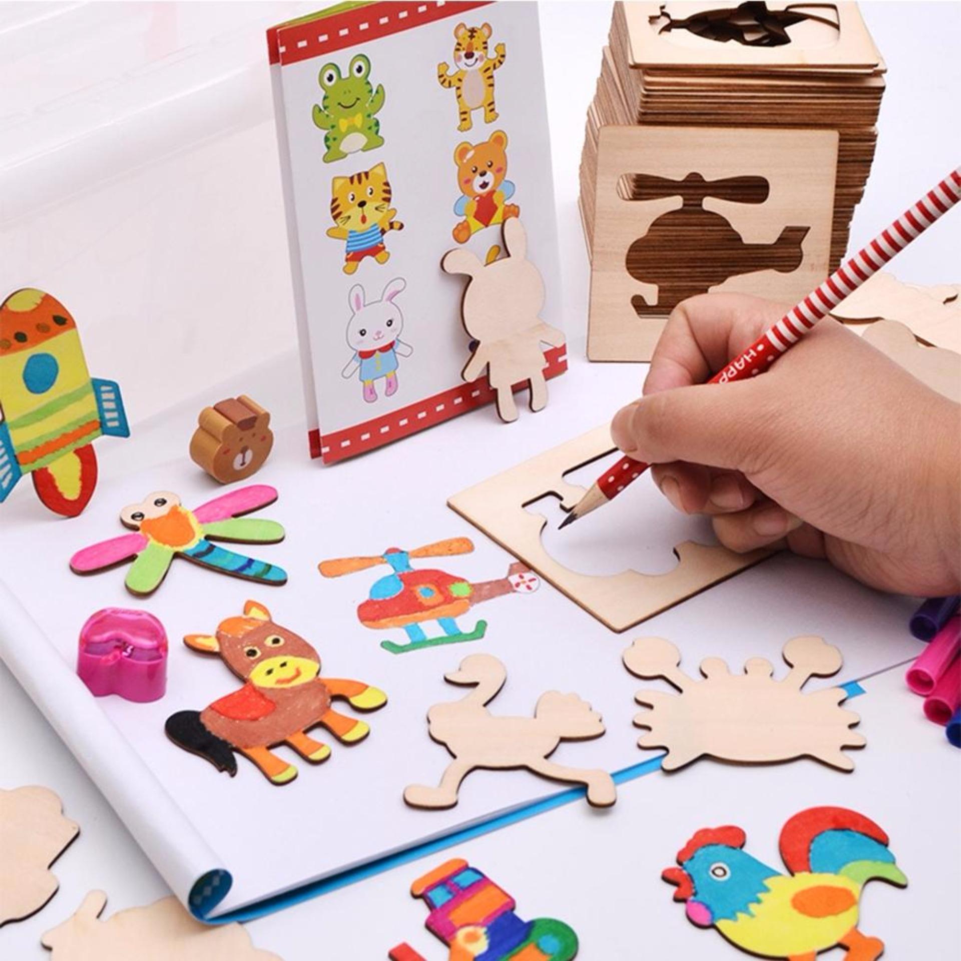 Bảng giá Bộ đồ chơi học vẽ hình 50 thẻ gỗ + 12 bút màu + Bút chì ...