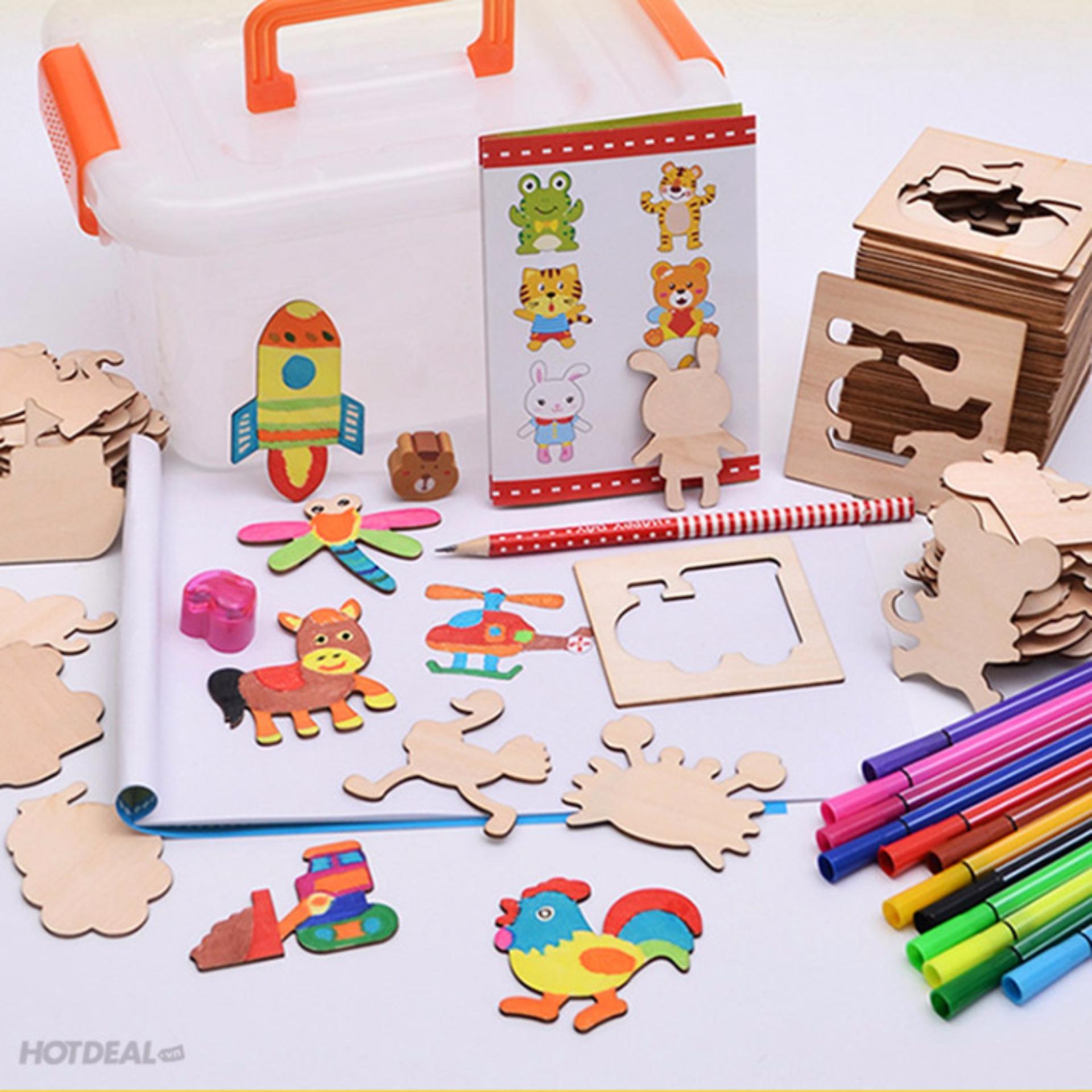 Bộ đồ chơi học vẽ hình 50 thẻ gỗ + 12 bút màu + Bút chì tẩy + Tặng Vở vẽ cho bé