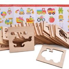 Bộ đồ chơi khuôn gỗ tập vẽ và tô màu cho bé