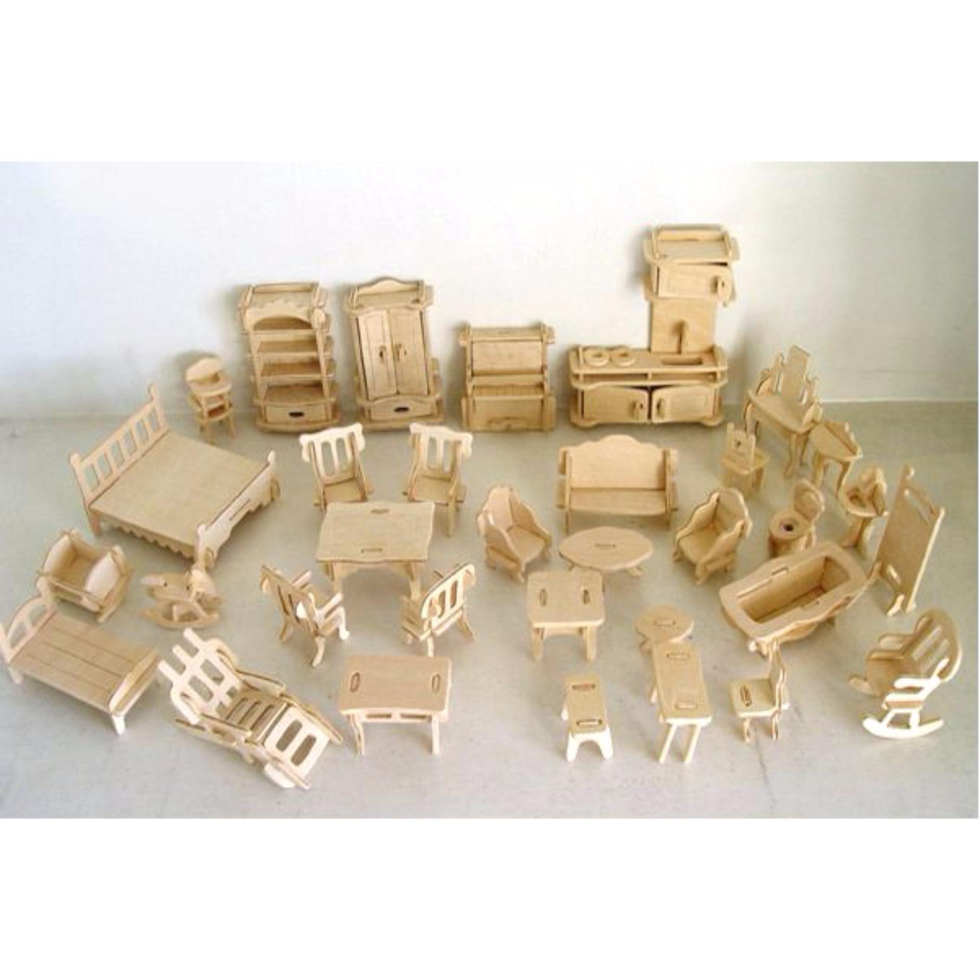 Bộ đồ chơi lắp ghép 3D bằng gỗ -AL