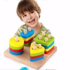 Bộ đồ chơi Montessori xếp hình 4 cột bằng gỗ phát triển tư duy hình học dành cho bé