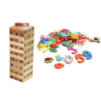 Bộ đồ chơi rút gỗ+ 26 chữ cái nam châm cho bé vui học