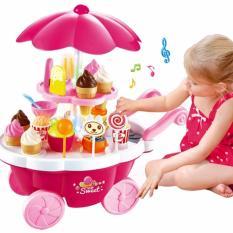Bộ đồ chơi xe đẩy kem có đèn phát và nhạc cho bé gái