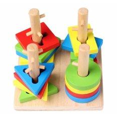 Bộ đồ chơi xếp hình 4 trụ cột bằng gỗ