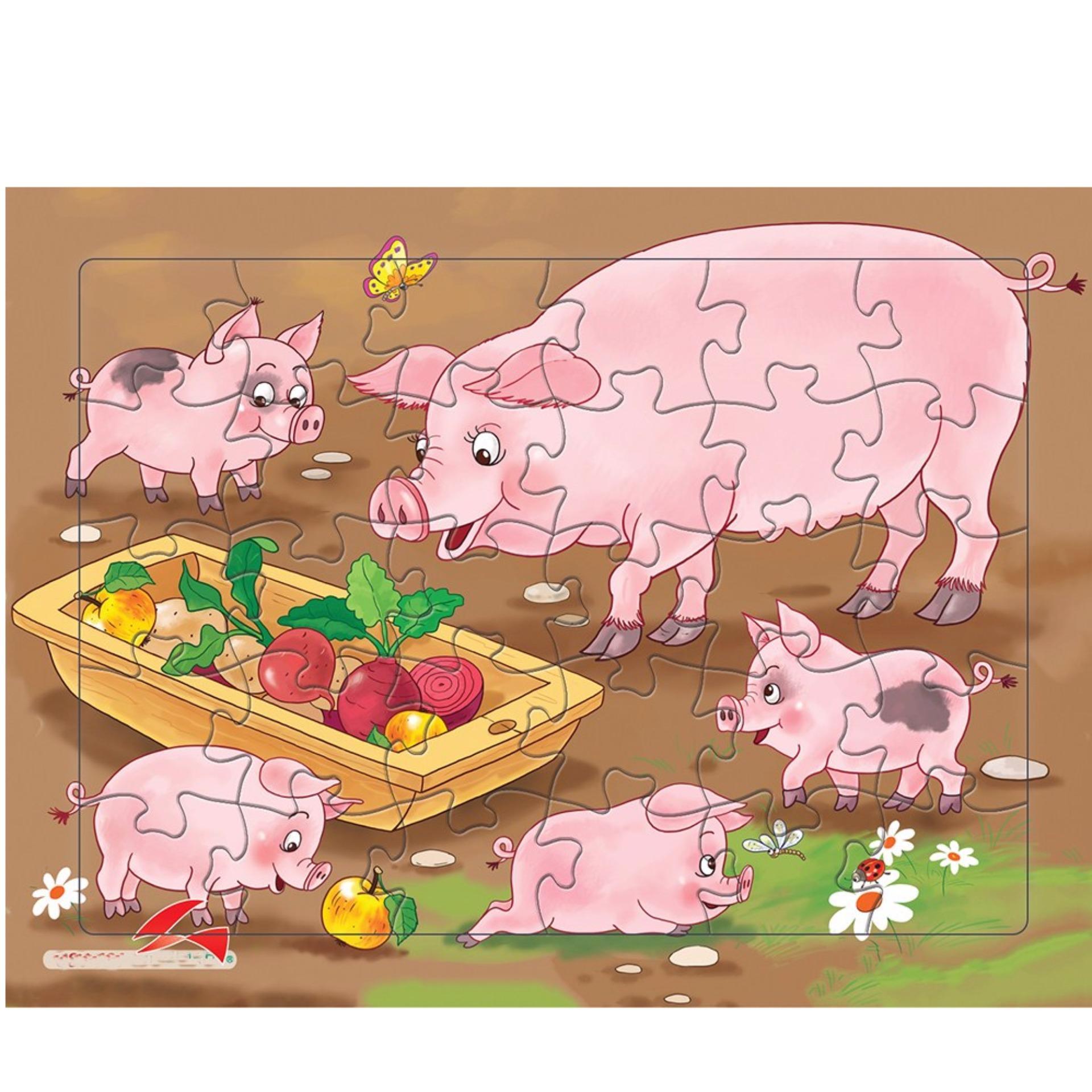 Bộ đồ chơi xếp hình gia đình nhà heo 30 mảnh+Tặng kèm 1 tranh tô màu