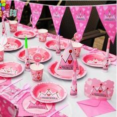 Bộ dụng cụ trang trí sinh nhật hình vương miện hồng