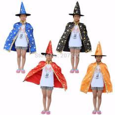 Bộ hóa trang Halloween 2 chi tiết áo choàng, mũ phù thủy-kiểu Lấp lánh