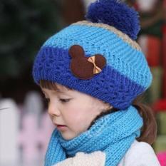 Bộ khăn và mũ nồi len xinh xắn cho bé gái ML08