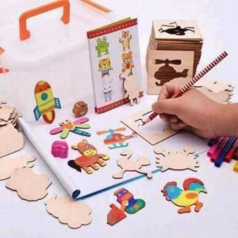 Bộ khuôn tranh vẽ bằng gỗ cho bé thỏa sức sáng tạo