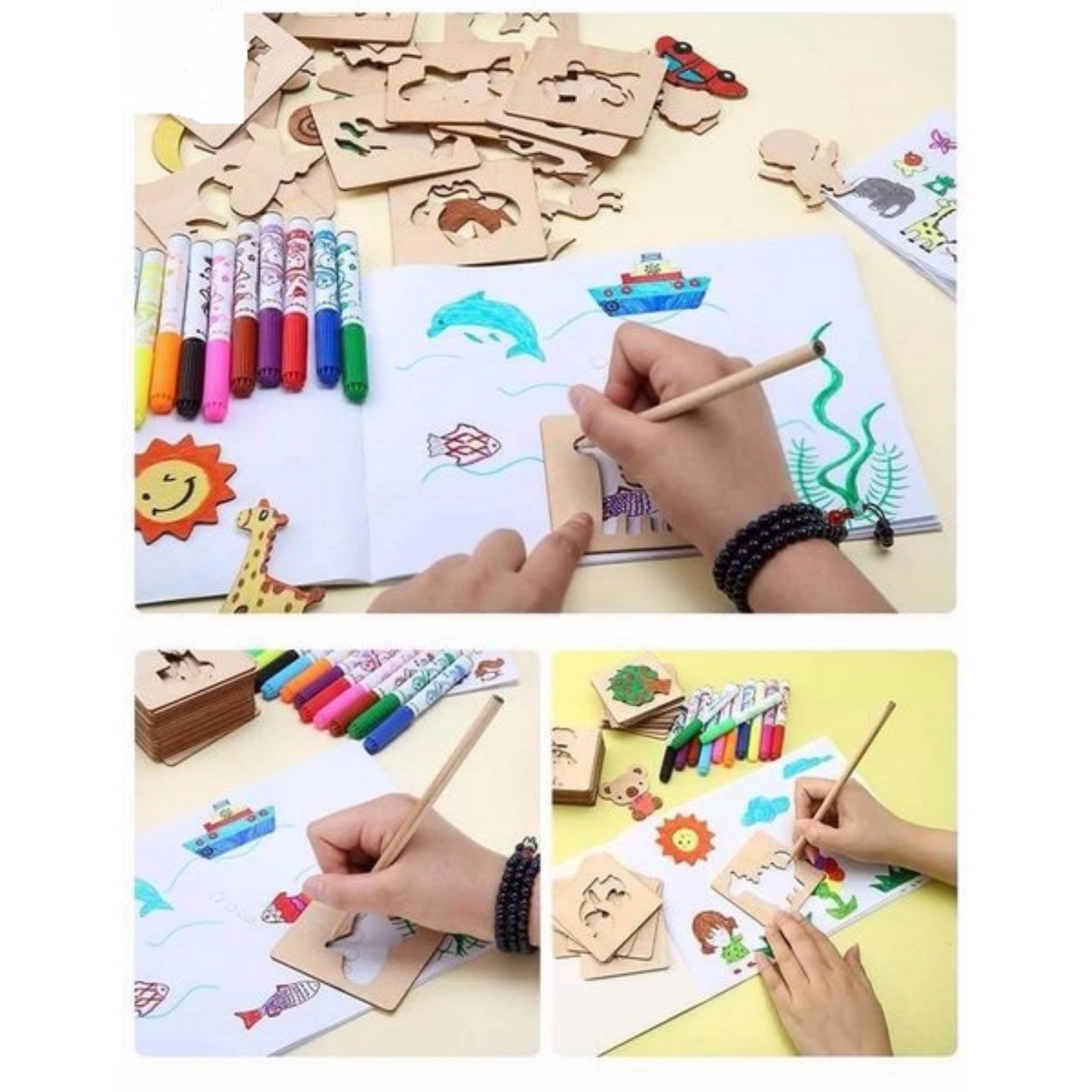 Khuôn hình tập vẽ tranh cho bé ( Tặng hộp màu và sách vẽ)