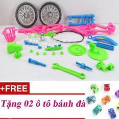 Bộ lắp ráp mô phỏng xe đạp – Quà tặng cho bé nhân dịp Lễ, Tết, sinh nhật; Tặng 02 ô tô bánh đà