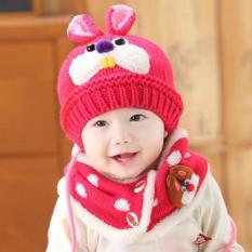 Bộ mũ khăn len lót lông răng thỏ