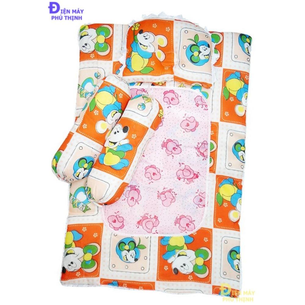 Bộ nệm + gối nằm + 2 gối ôm cho bé ngủ ngon từ 1 đến 3 tháng tuổi (hoa...