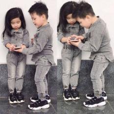 Bộ quần áo jean dành cho bé trai và bé gái đáng yêu