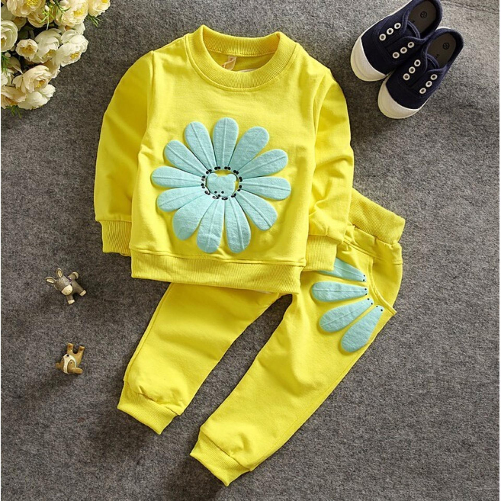 Bộ quần áo thu đông hình hoa cúc dễ thương cho bé từ 8-27kg