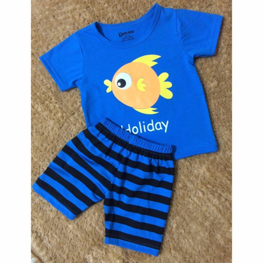 Bộ quần áo trẻ em áo xanh in hình cá