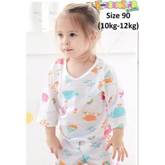Bộ quần áo trẻ em lửng, thun Jacquard 100% cotton Hàn Quốc (KSL008)