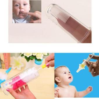 Bộ SP( Rơ lưỡi silicon+ bộ vệ sinh bình sữa+ dụng cụ cho bé uốngthuốc)