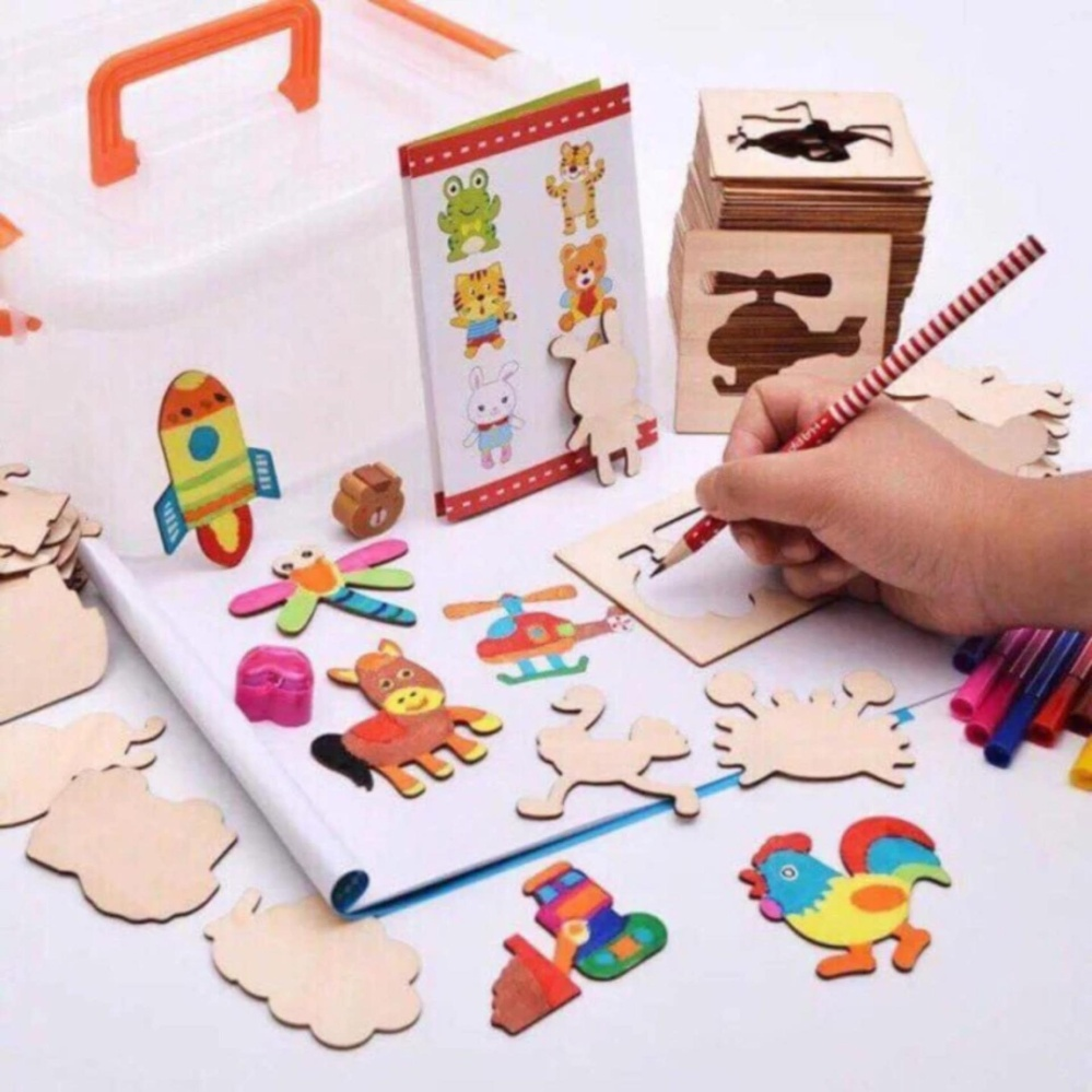 Bộ tập tô gỗ 52 chi tiết cho bé - Kmart