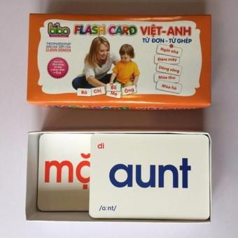 Bộ thẻ Flashcard song ngữ Việt - Anh dạy trẻ biết đọc sớm (Trắng)