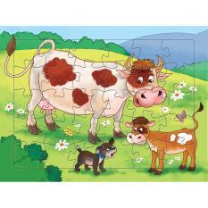 Bộ Tranh ghép hình Bò mẹ và Bò con 30 mảnh – Tặng kèm tranh tô màu cho bé