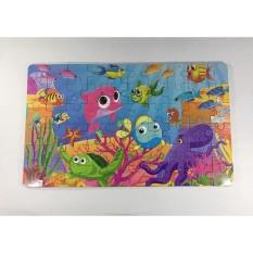 Bộ tranh ghép hình sinh vật biển 60 miếng bằng gỗ, đựng trong hộp thiếc
