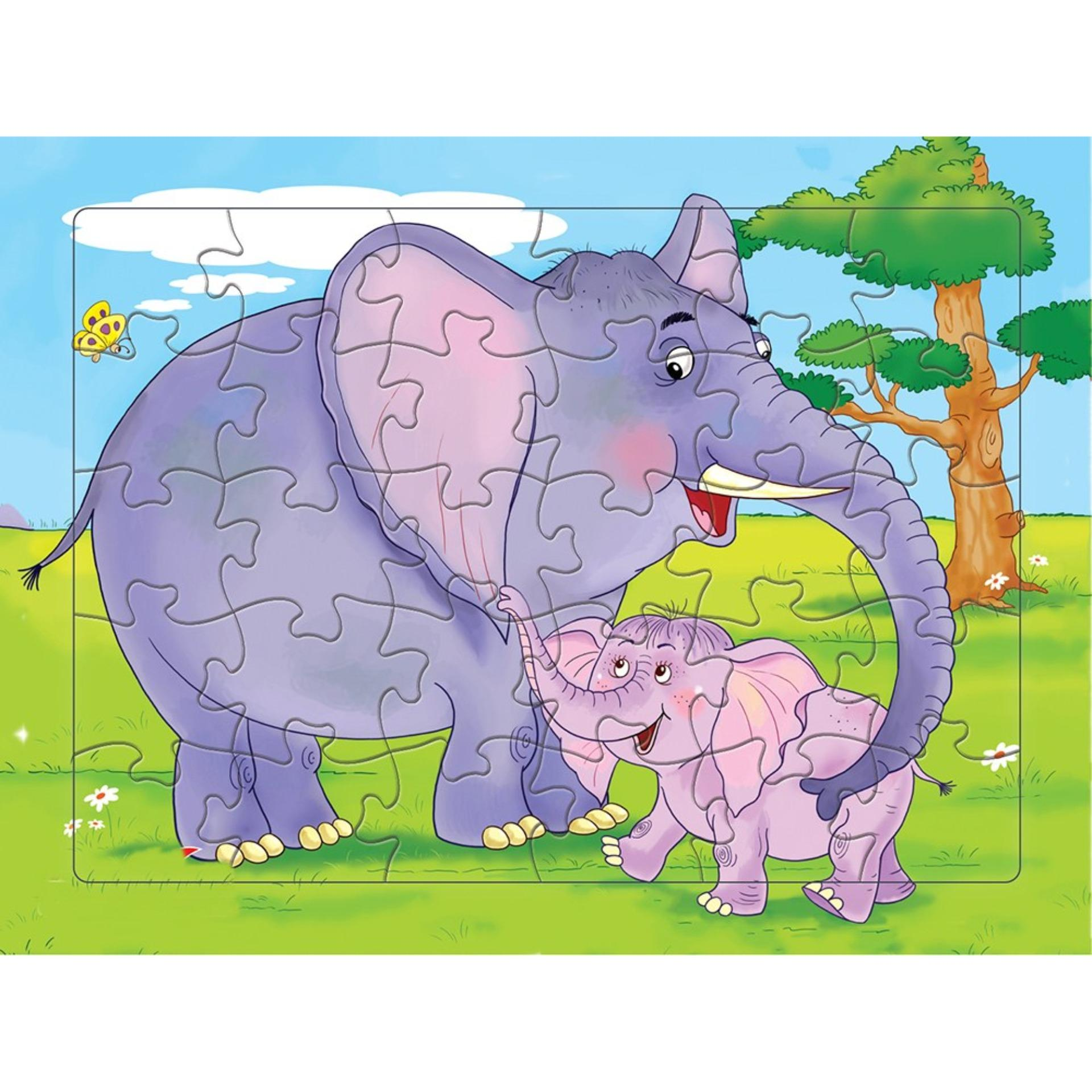 Bộ tranh ghép hình Voi mẹ và voi con 30 mảnh+ Tặng kèm tranh tô màu cho bé
