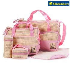 Bộ túi 5 chi tiết cho mẹ và bé (Hồng)