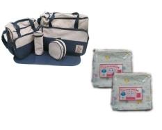 Bộ túi đựng đồ 5 chi tiết và 2 túi khăn sữa 2 lớp 32x32cm