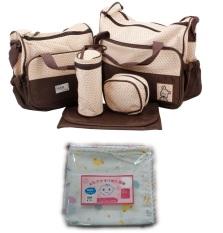 Bộ Túi đựng đồ cho mẹ và bé 5 chi tiết (Nâu) và khăn sữa 2 lớp túi 10 chiếc 32x32cm
