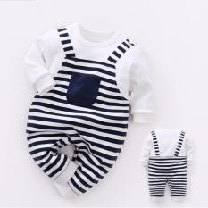 Bodysuit liền dài giả yếm sọc ngang đơn giản hiện đại cho baby 0-12 tháng
