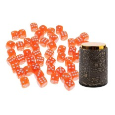 BolehDeals 50 Pieces 6 Sided Orange Spot Dices D6 with Dice Cup Shaker for Casino Party Bar Board Game Props Dungeons and Dragons Accessory – intl