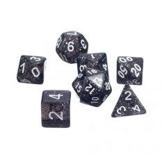 BolehDeals 7pcs/set TRPG Game Dungeons & Dragons Glitter D4-D20 Multi Sides Dice Black – intl
