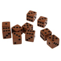 BolehDeals Pack of 10pcs 18mm Six Sided D6 Spot Dice for D&D TRPG Party Game Toy Brown – intl