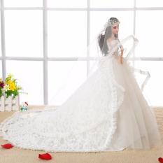 Búp Bê Cô Dâu 3D Cao Cấp Tuyết Trắng – Váy Cưới Đuôi Cá 80cm
