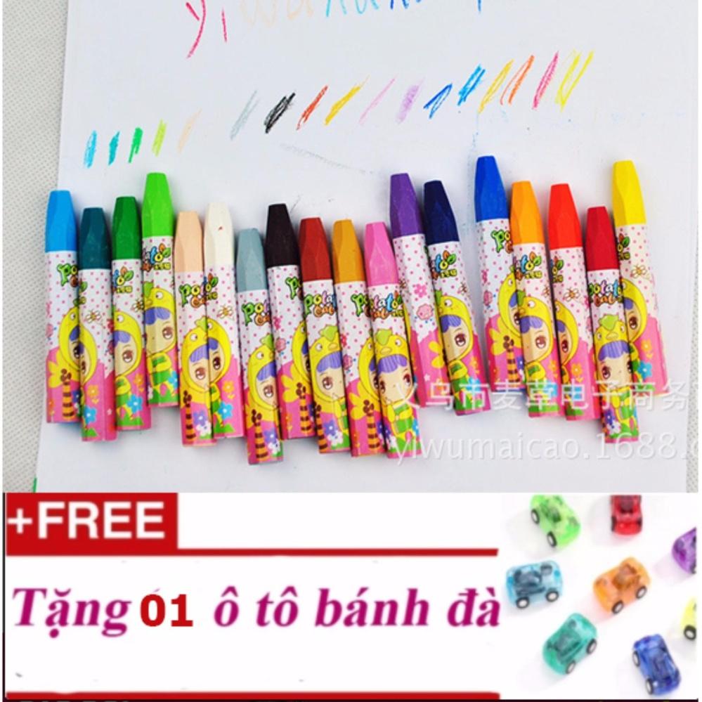 Bút màu sáp cho trẻ 18 màu loại phổ biến nhất các lớp học + Tặng 01 ô tô bánh đà