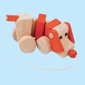 C555: Đồ chơi gỗ hình chú chó kéo dây