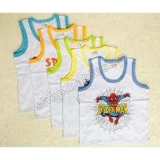 Bộ 5 áo ba lỗ trắng viền màu in hình SuSu(Cho em bé từ 5-26kg)