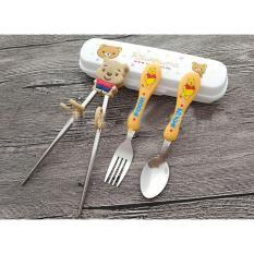 Combo hộp nĩa, đũa, muỗng cho bé hình gấu Pooh