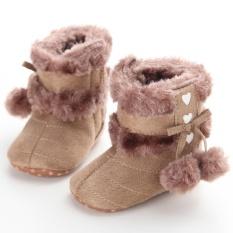 Điên Store Hot Newborn-18M Bé trai bé gái Mùa Đông Ấm Trơn Dễ Thương Giày Tập Đi Cho Bé Giày Đế Mềm s2177 Màu Nâu-quốc tế