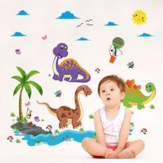 Decal dán tường dinosaur cartoon ngỗ nghĩnh cho bé