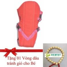 Địu cho bé rất tiện ích, êm ái, 4 tư thế hiệu Royal (Việt Nam) (Tặng 01 vòng dâu cho bé) (ĐỎ)