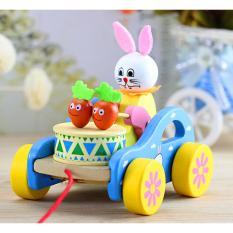 Đồ chơi bằng gỗ – Bé kéo xe Thỏ con đánh trống