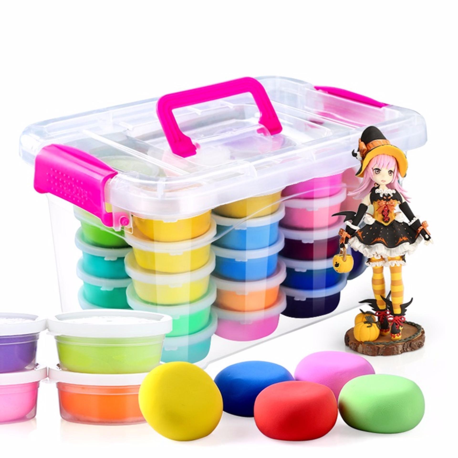 Đồ chơi Bộ Đất sinh học không độc hại: 24 màu + Khuôn + Hộp nhựa