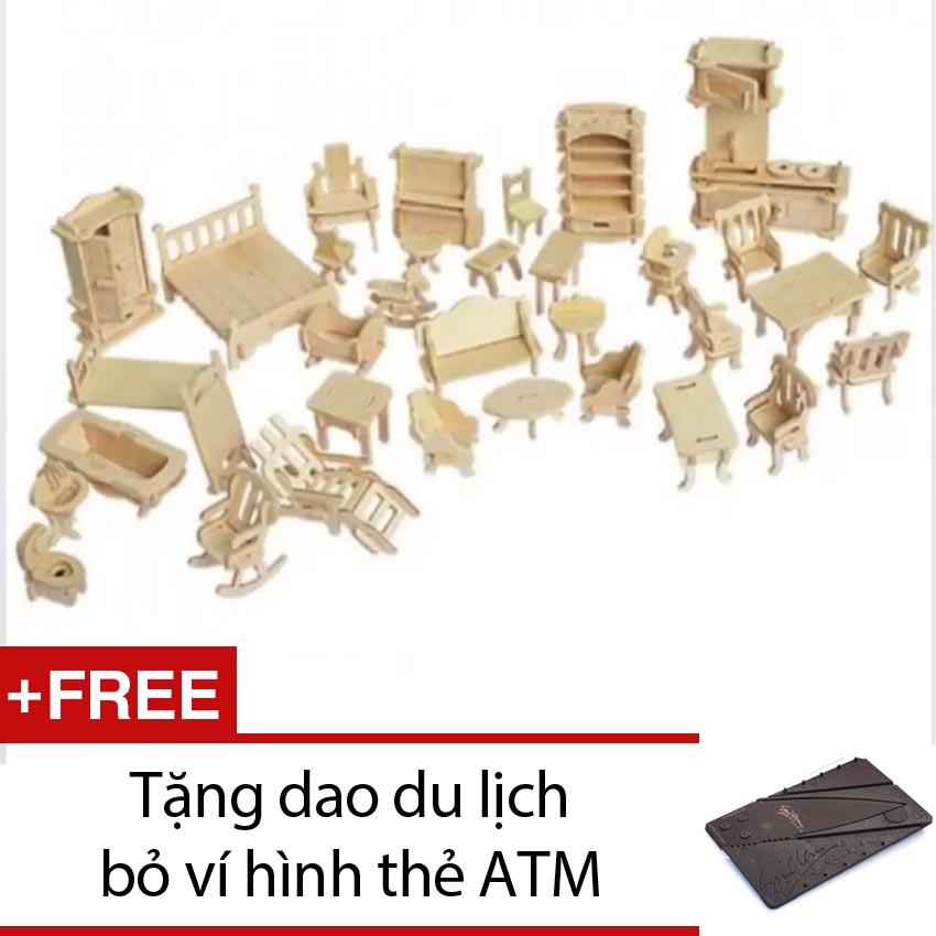 Đồ Chơi Ghép Hình 3d Bằng Gỗ 184 Chi Tiết Cho Bé + Tặng 1 dao du lịch bỏ ví hình thẻ ATM (Nâu)
